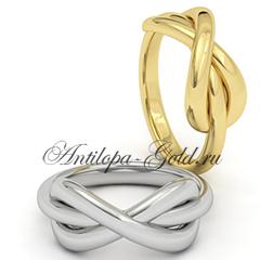 золотое кольцо со знаком бесконечности купить в москве