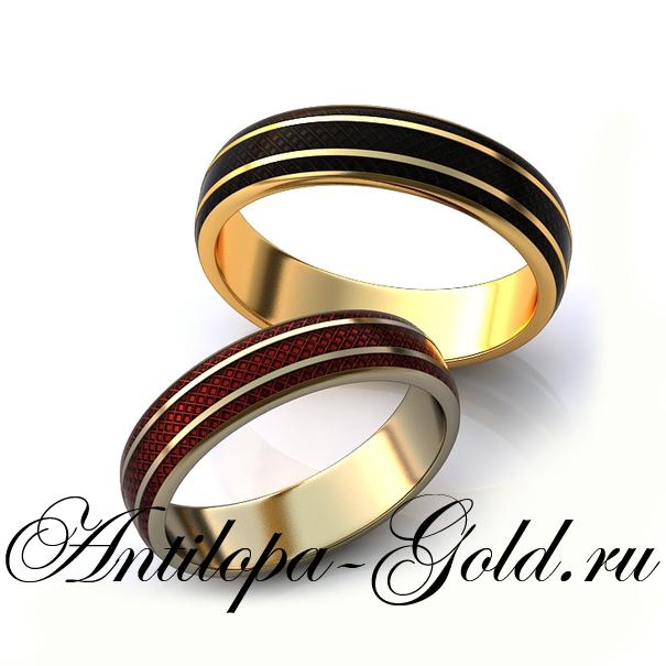 Обручальные кольца с эмалью купить
