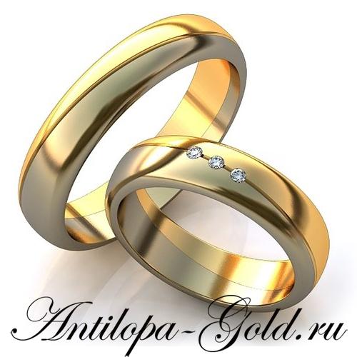 Комбинированные обручальные кольца парные