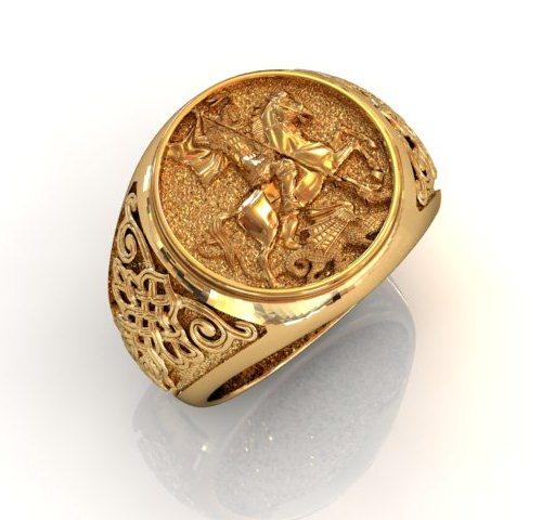 перстень мужской золотой с георгием победоносцем наличии под заказ